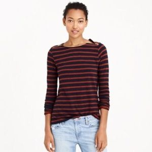 [J. Crew] vintage cotton zipper top in stripe #Z09